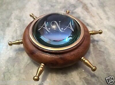 Brass Wheel Wooden Lens Compass Table Top Paper Weight Decorative Item