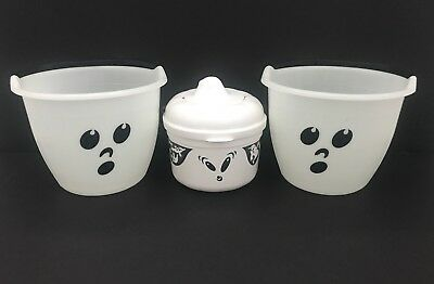 Lot of 3 Vintage Ghost Trick or Treat Candy Buckets Pails Halloween