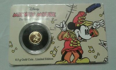 2016 Disney Mickey Mouse Through The Ages - The Band Concert 0.5 Gram Gold Coin