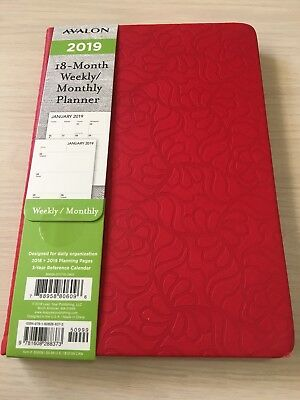 2018-2019 AVALON 18-Month Weekly/Monthly Calendar Planner Appointment Book RED
