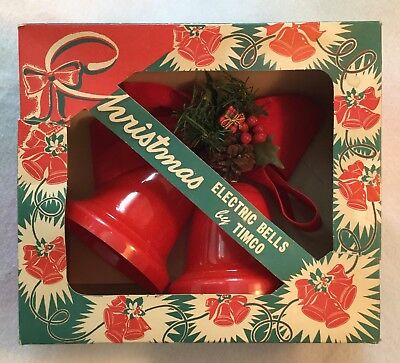 Mid-Century TIMCO Christmas RED Hard Plastic Electric Bells w/ Intact Box - EXC!