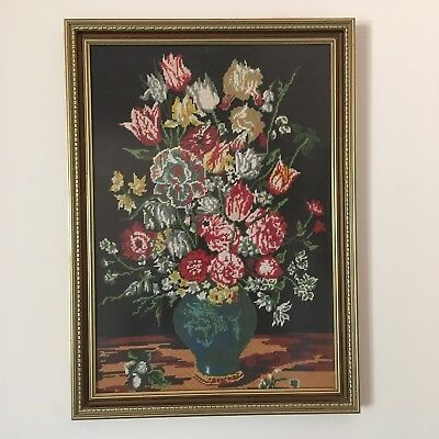 Handcrafted Flower Embroidery In Gold Colour Frame