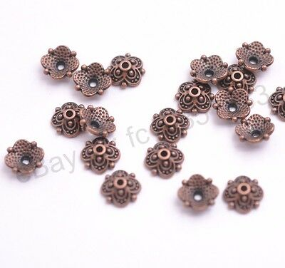 100PCS Tibetan Silver Copper Spacer beads Flowers Bead Caps Findings 8MM M3113