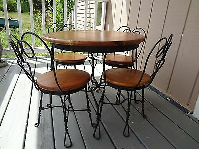 Vintage Original Ice Cream Parlor Table Chair Set Childs Oak Wood Twisted Bistro