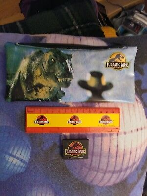 Jurassic Park pencil case with ruler and eraser, vintage good condition