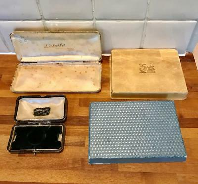 Collection Of Vintage Jewellery Boxes. Antique Jewelry Cases Old Jewellers Boxes