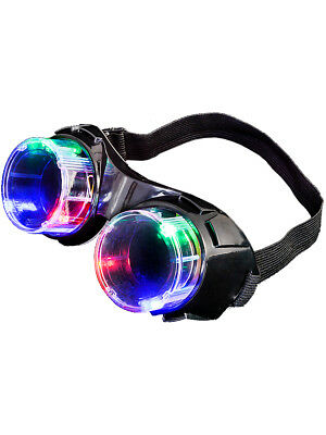 Light Up Mad Scientist Steampunk Black Aviator Goggles