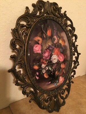 Large FLORAL Picture Ornate Oval Metal Frame CONVEX GLASS Made In Italy