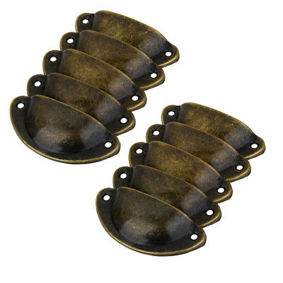 40 x Shell Shaped Antique Door Cabinet Drawer Box Bin Handle Cup Pull Bronze