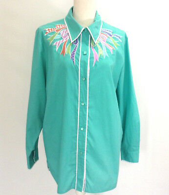 Bob Mackie Wearable Art Womens Blouse Size Large Button Down Embroidered #106
