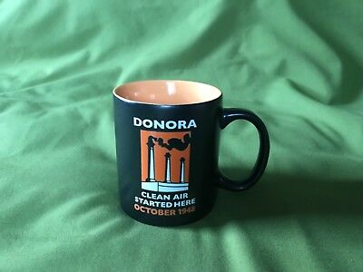 New Vintage Black/orange Donora Pa Clean Air Started Here Coffee Mug Exc