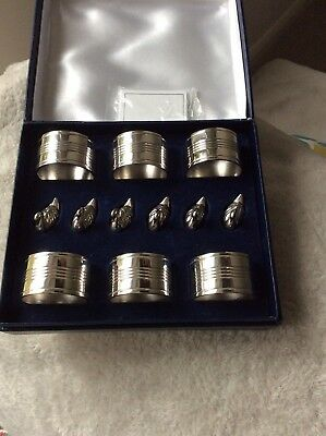 Napkin Rings and  Swan Place Card Holders in Silver plate x 6 in Box