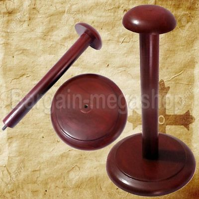 Stand Wooden Helmet Display Post for Medieval Helmets - Foldable Wood Stand