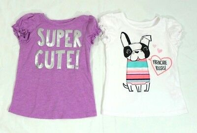 Okie Dokie Toddler Girl Shirt Size 4T Lot of 2 White Purple Short Sleeves Summer