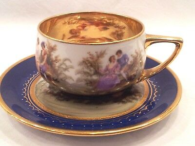 Royal Vienna Rosenthal COBALT GOLD DEMITASSE CUP AND SAUCER COURTING COUPLE