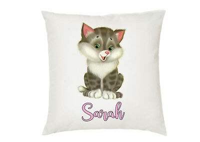 Personalised Kitten Cat Kids Boys Girls Cushion Cover Gift Birthday Your Name