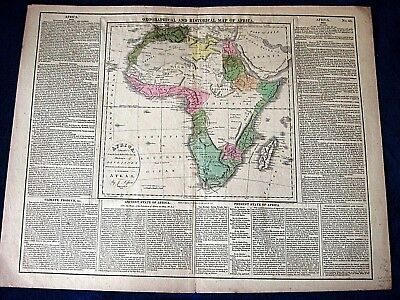 1821 AFRICA big antique MAP geographical & historical inc Madagascar 17x 22""