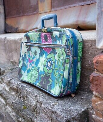 Vintage Retro Bantam Travel Blue Floral Pattern Carry On Suitcase Bag | VTG RTO