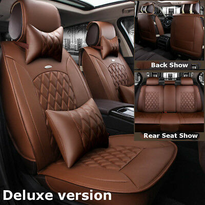 Luxury Coffee Car Leather Seat Covers Front+Rear Set For Honda Accord Civic XR-V