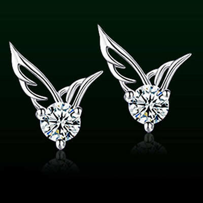 Women Girls 925 Sterling Silver Crystal Butterfly Angel wing Studs Earrings