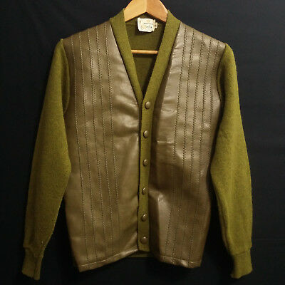vintage 60s Cardigan Sweater Mad Men Wool Suede Leather MOD Small S Pea Green