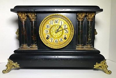 Antique Gilbert Mantle Clock Working Chimes On Hour & Half Hour 8Day