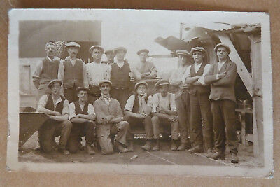 Real Photo Vintage Postcard - Group Photo of Working Men- Social History