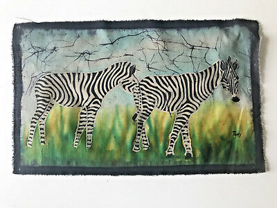 African Zebra Batik Art, Hand Painted with Wax, Authentic