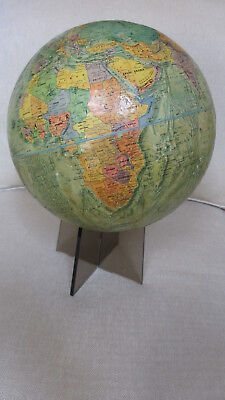 "1973 USA Repogle Readers Digest 12"" Globe w/Land & Sea Relief~5"" Acrylic Stand"