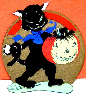 1920s Halloween Diecut Rust Craft Place Card Cat Holding Jack O'Lantern unused