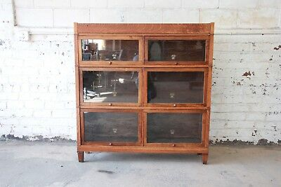 Antique Oak Double Barrister Bookcase by Macey