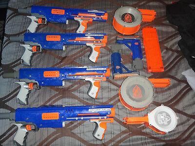 Nerf N-Strike Nerf  Raider CS-35 LOT OF 4 WITH 3 AMMO DRUMS AND 18 ROUND CLIP