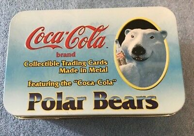 "1996 Coca-Cola Polar Bears Series 1 ""Always Cool"" Tin & 10  Metal Trading Cards"