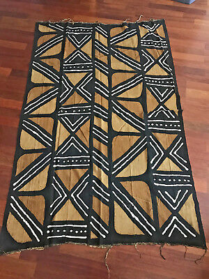 """Authentic African Handwoven Mudcloth Fabric from Mali, 68"""" x 42"""""""