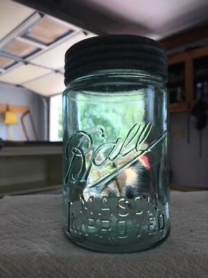 #249-5 aqua pt Ball (3-L dropped a) MASON IMPROVED (dropped r) canning fruit jar