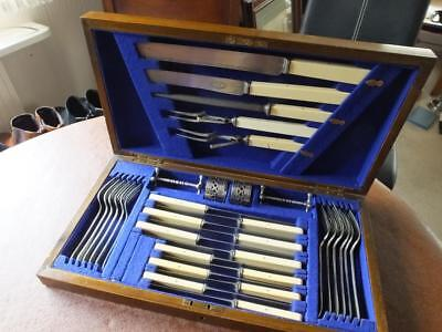 Vintage Canteen of Game Cutlery 24 pcs+ Old English composite and spur silver