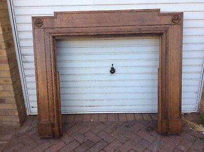 stunning antique english oak fire surround.carved english rose
