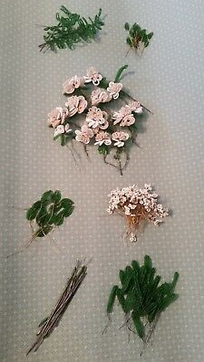 French Beaded Flowers Champagne Beige Roses White Daisies Leaves Wire Stems Lot