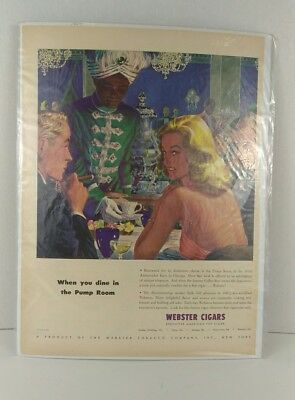 "VTG 1947 Webster Cigars ""When you dine in the Pump Room"" Magazine Print Ad"