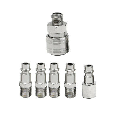 6pcs Quick Couplers Solid Air Hose Connector Coupling Fittings 1/4 NPT Tool