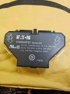 Auxiliary Contact Eaton C320SNP22 10 Amps Snap Switch Type Side Mounting new