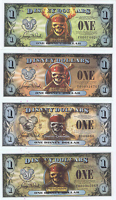 WDW 2007 & 2011 4 Note Set PIRATES of CARIBBEAN MINT Disney Dollars LOW F Dollar