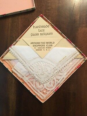Beautiful Antique Embroidered Lace Handkerchief Set of 3 Different Pieces in Box