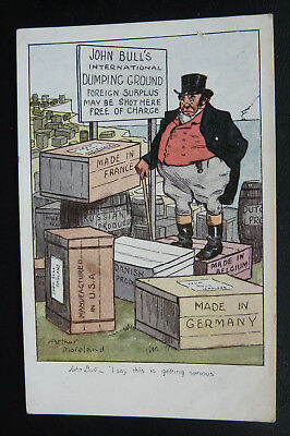 Comic Political Satire Postcard, Arthur Moreland- John bull Int Dumping Ground