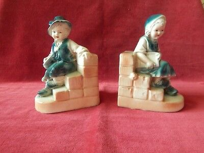Vintage Pair Of Ceramic Boy & Girl Bookends 36774 Old