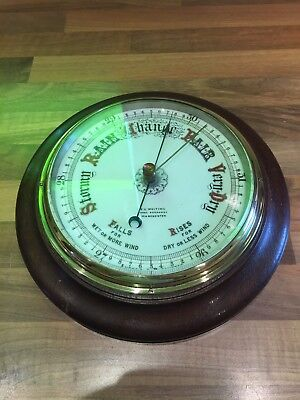 Vintage Wood & Brass Ships Aneroid Barometer Maritime Marine Nautical Boat