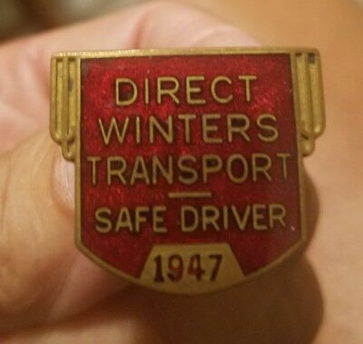 Vintage Direct Winters Truck Driver 1947 Safe Driver Hat Badge Pin
