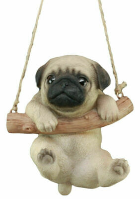 Pug Puppy Macrame Branch Hanger 5.5 Inch Tall With Jute Strings
