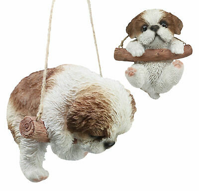 Shih Tzu Puppy Macrame Branch Hanger 5.25 Inch Tall With Jute Strings