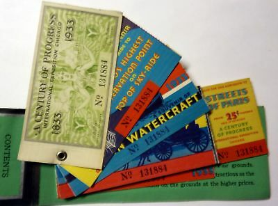1933 Worlds Fair Chicago - combination book of souvenir tickets 12 total w/ map